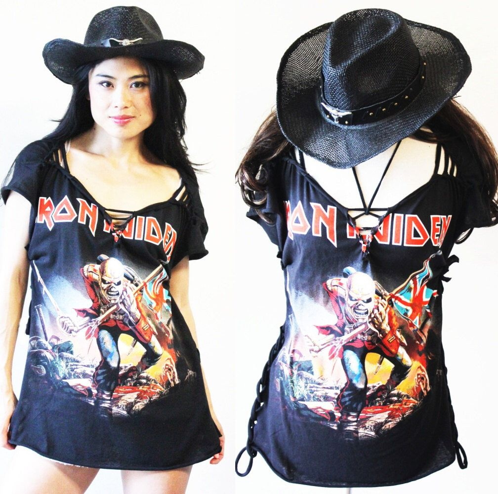 Black t shirt dress etsy - Iron Maiden Super Sexy Special Cut Shredded Ripped Cutting A T Shirt Dress Or