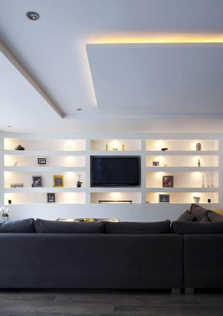 Photo of Parete attrezzata in cartongesso per un soggiorno moderno, #attrezzato # cartongesso #moderno…