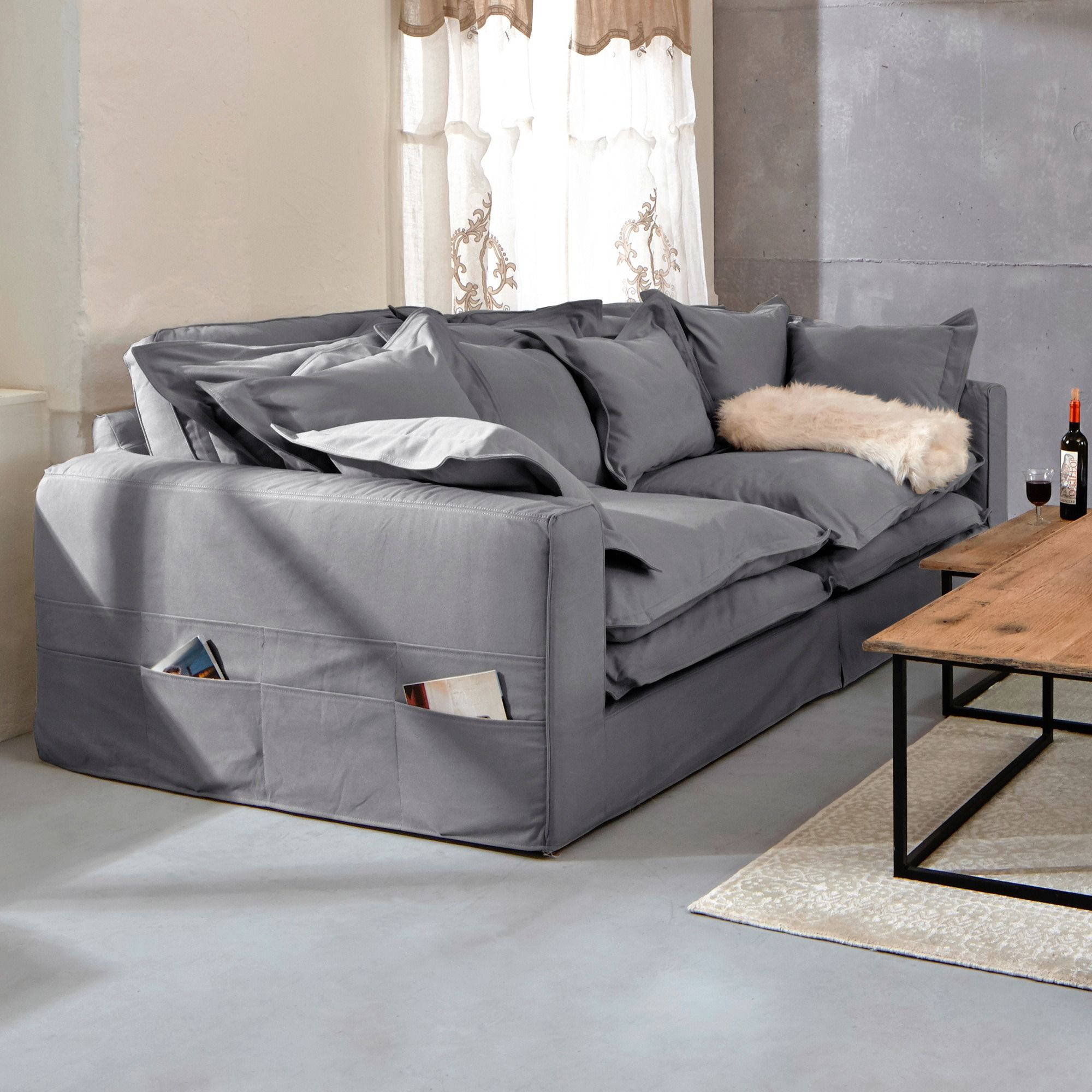 xxl sofa carcassonne grau bezug aus baumwolle online. Black Bedroom Furniture Sets. Home Design Ideas