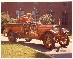 1911 CITY STATION FIREMAN VINTAGE PACKARD FIRE TRUCK COLORIZED PHOTO AMERICANA