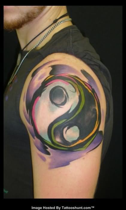 Yin Yang Water Color Abstract Tattoo On Shoulder Abstract Tattoo Shoulder Tattoo Tattoos