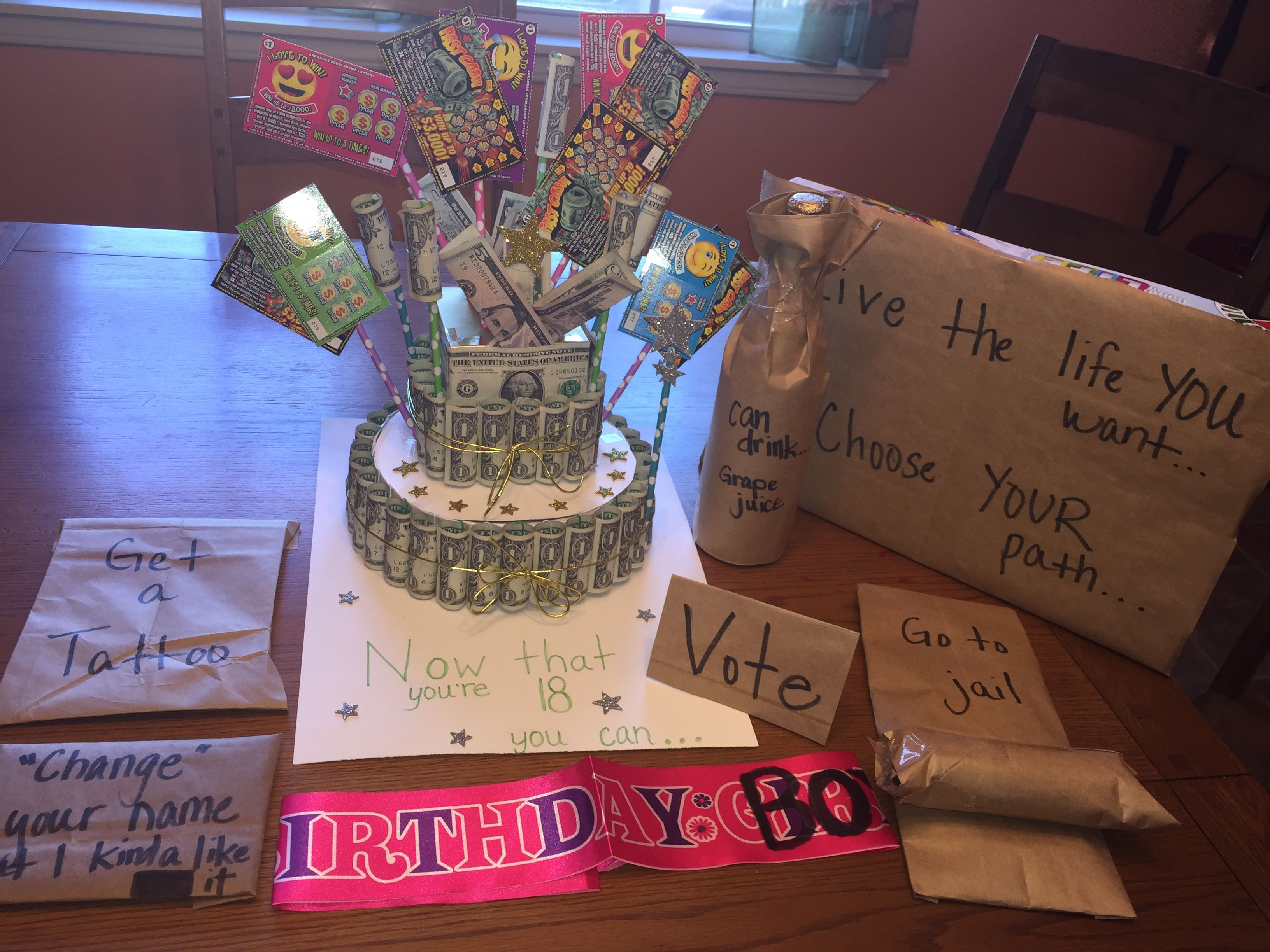 I made this money cake and Now that youre 18 you can gifts for my