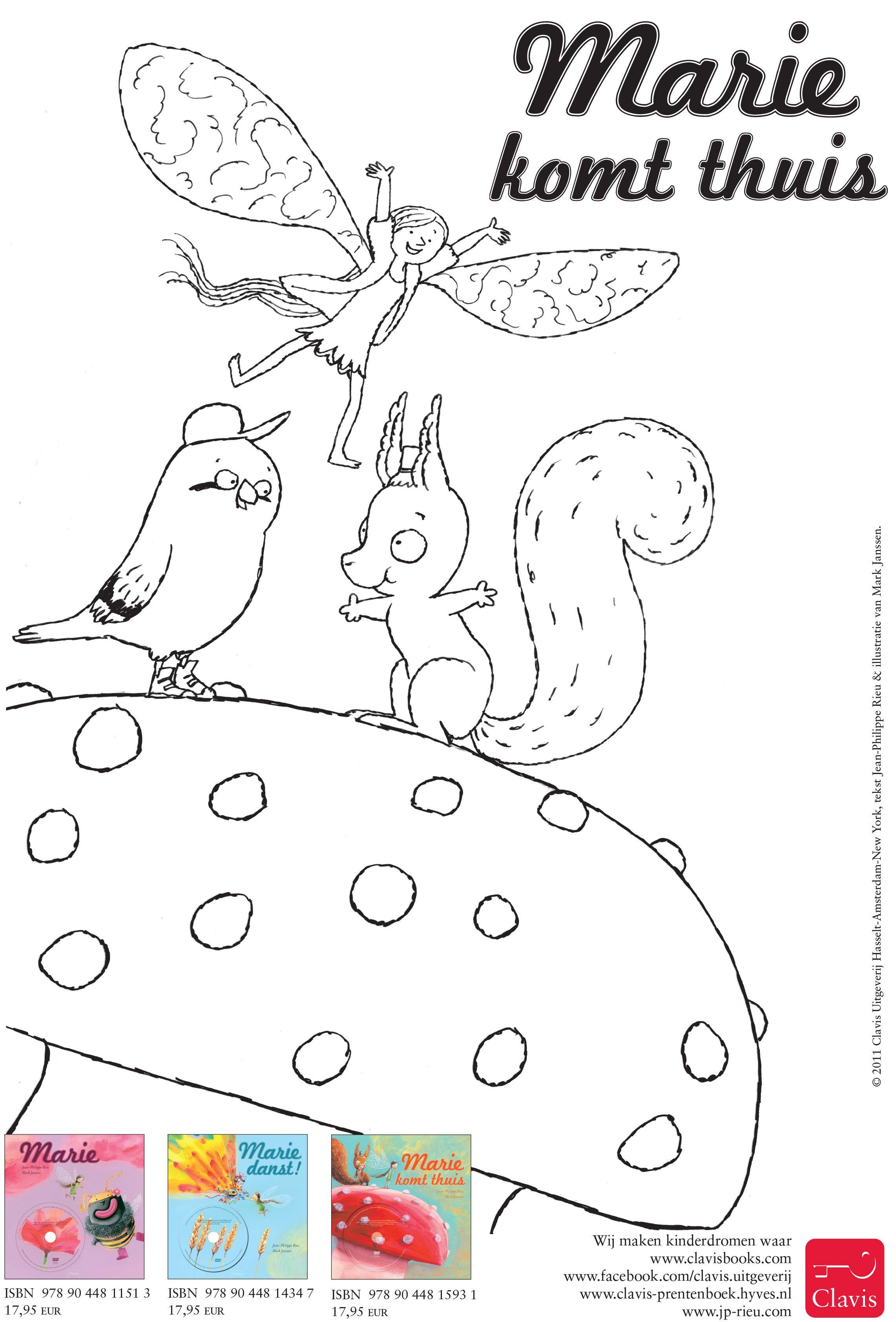 De Rode Klaproos Van Elfje Marie Staat Wiebelend In De Stralende Frisse Herfstzon Marie En Haar Vriendjes Zijn Gezellig Druk Kleurplaten Illustratie Schattig