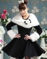 Preto / branco de pelúcia envolto ombro grosso casaco de lã 2016 casacos de inverno C108Q