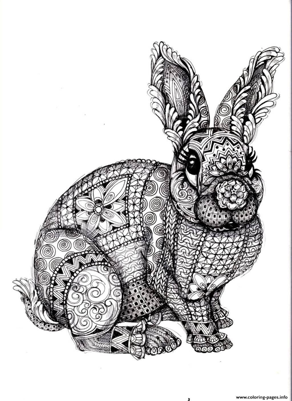 Print Adult Difficult Rabbit Coloring Pages Animal Coloring