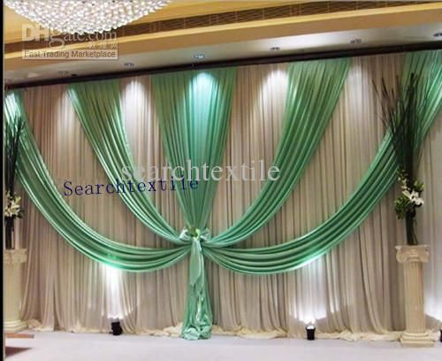 free shipping/10ft*20ft/ wedding backdrop/white&green wedding curtains