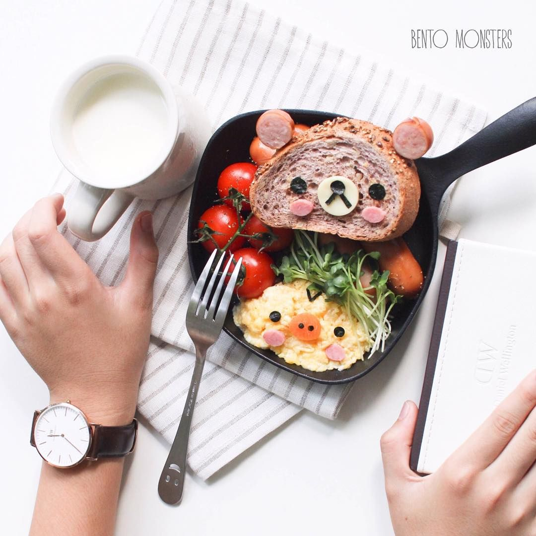 """Ming #bentomonsters on Instagram: """"#rilakkuma brunch for me.  Got a #danielwellington watch for my dad, and that's my boy helping me to try out the watch. If you are thinking of getting one too, you can use my code """"Mingdw"""" on their website link @danielwellingtonwatches, which entitles you to 15% off your purchase till 15th September."""""""