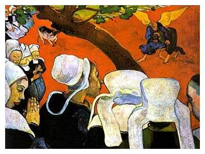 Paul Gauguin Vision After The Sermon Jacob Wrestling With An Angel
