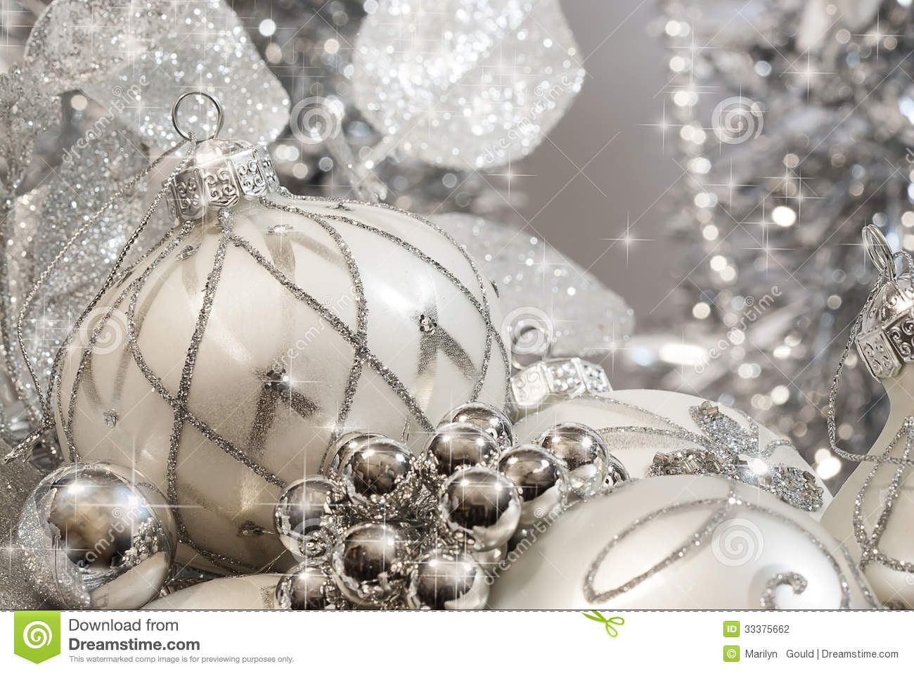 white and silver christmas decorations silver and ivory colored christmas ornaments with stars and small