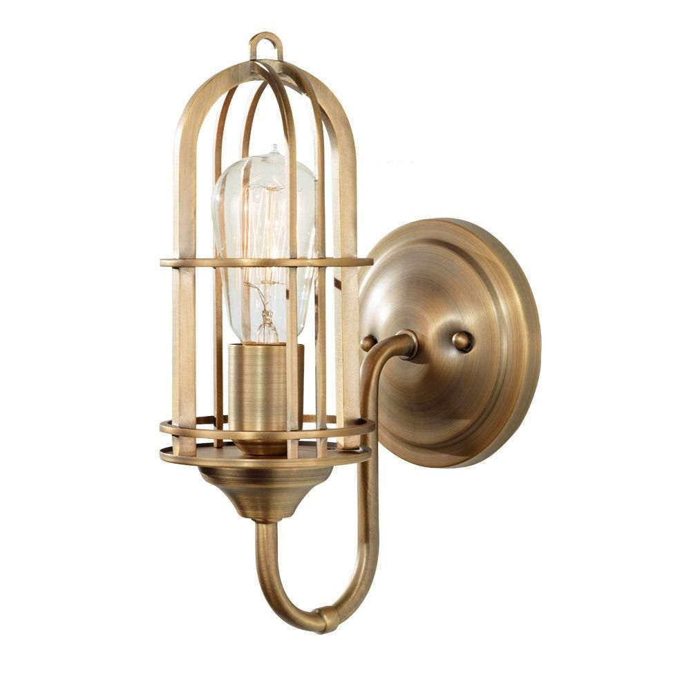 Feiss Urban Renewal 1 Light Dark Antique Brass Vanity Light