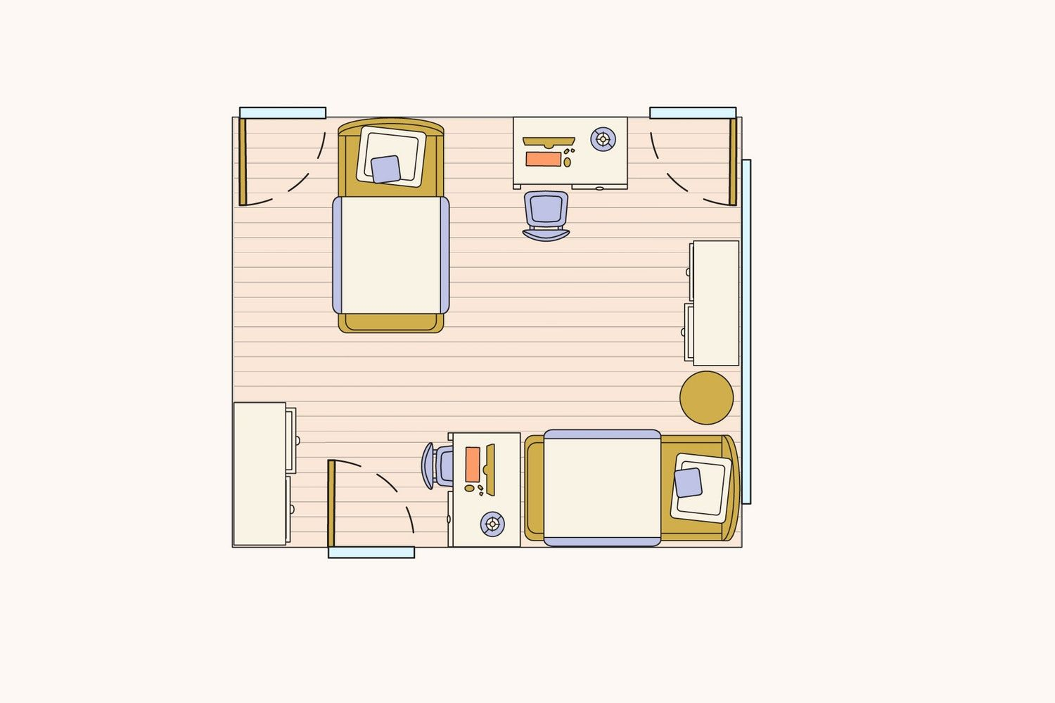 How To Layout 4 Tricky Bedroom Floorplans With Two Twin Beds Two Twin Beds Shared Girls Bedroom Child Bedroom Layout