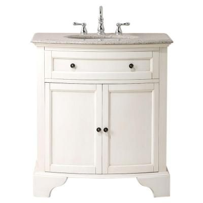 Home Decorators Collection Hamilton Shutter 31 In. W X 22 In. D Bath Vanity  In Ivory With Granite Vanity Top In Grey 0567400410   The Home Depot