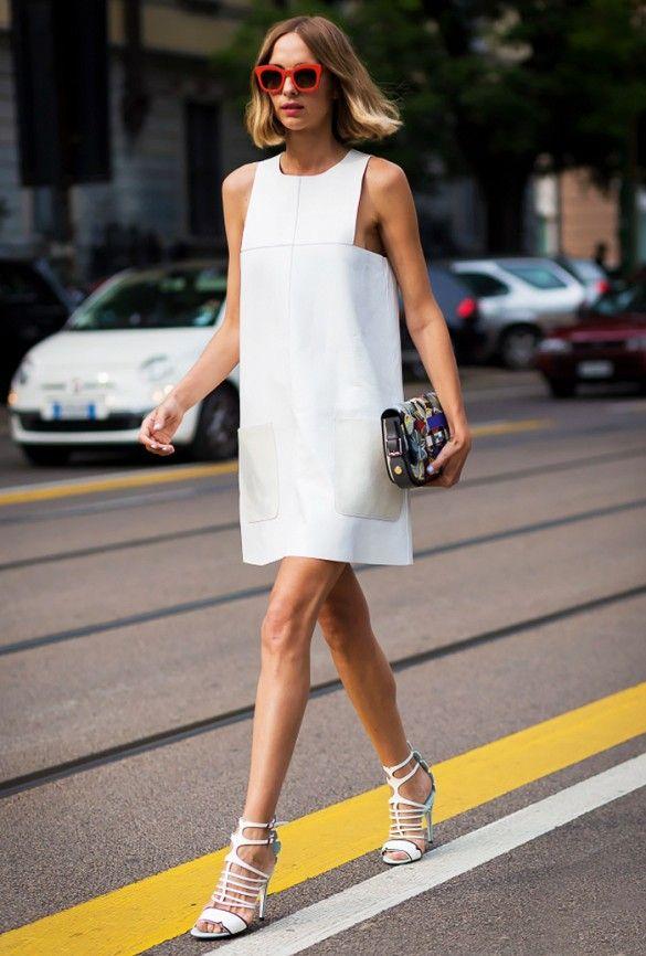 Image result for white dress sreet style