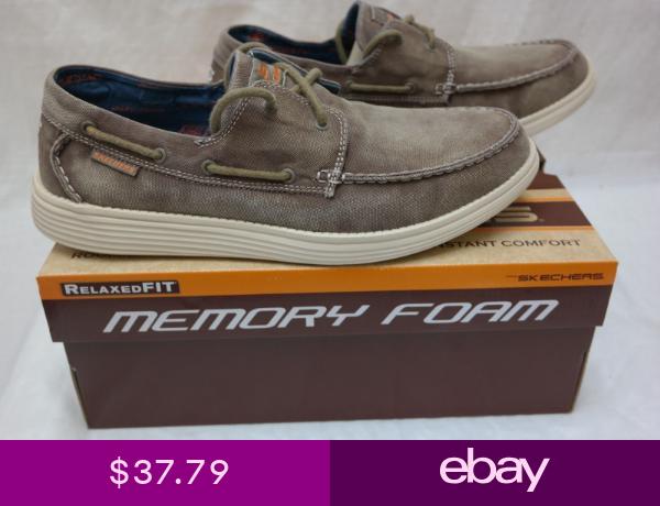 Mens Skechers Boat Shoes Gel Infused Memory Foam 13 Vintage Washed