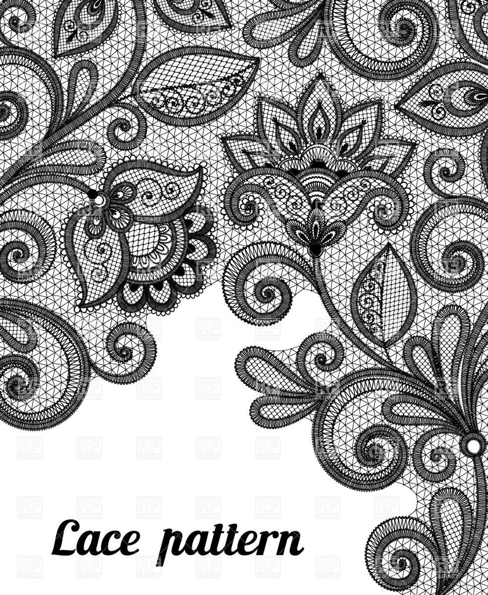 Floral Black Lace Pattern Vector Image Vector Illustration Of