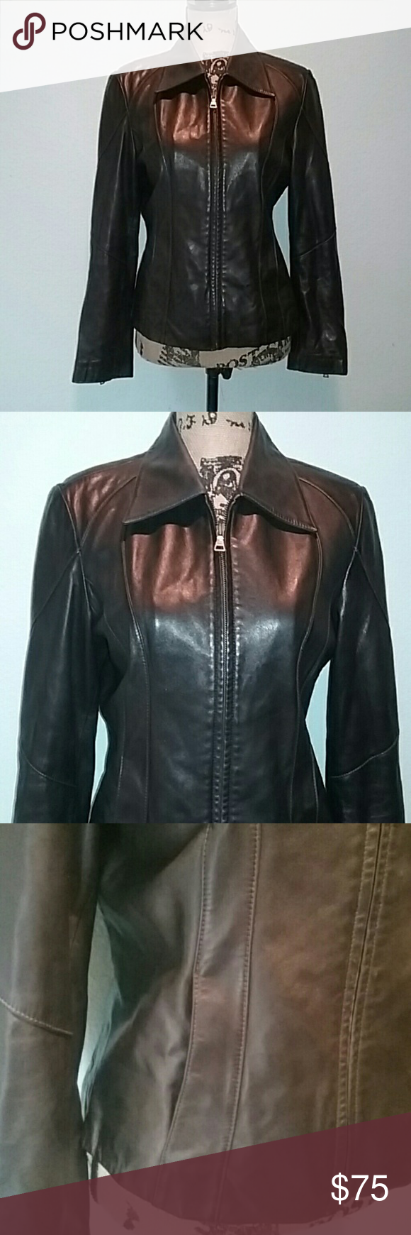 Guess Brown Leather Jacket Beautiful Guess genuine brown