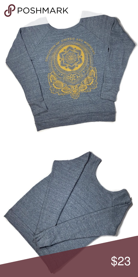 b5137329c7b213 Obey crewneck grey sweatshirt XS Ladies Obey crewneck grey sweatshirt with  mustard yellow floral Obey graphic