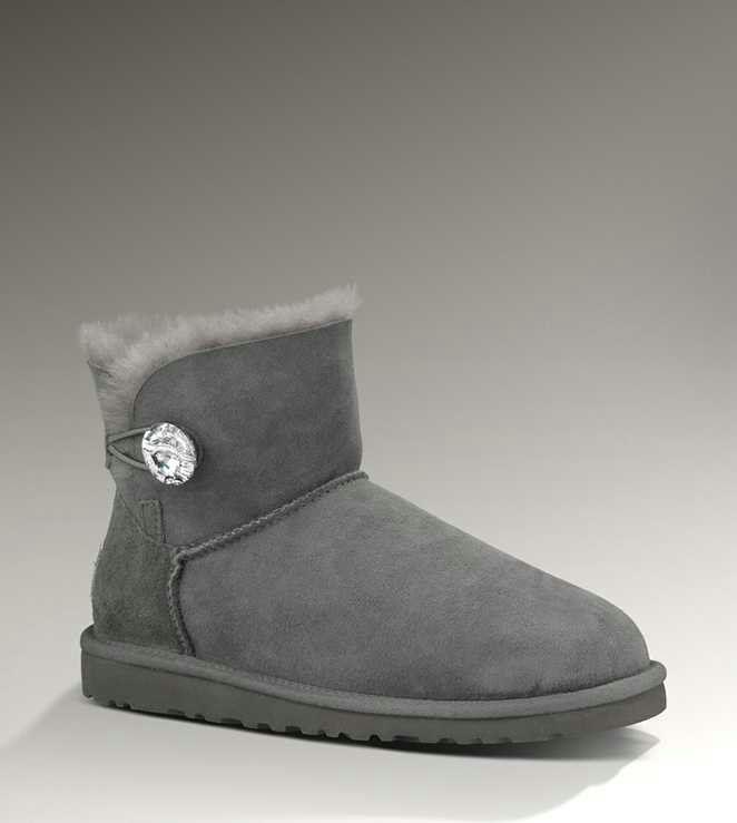 60abf1e9784 UGG Mini Bailey Button Bling 1003889 Grey Boots | Ugg's | Fashion ...