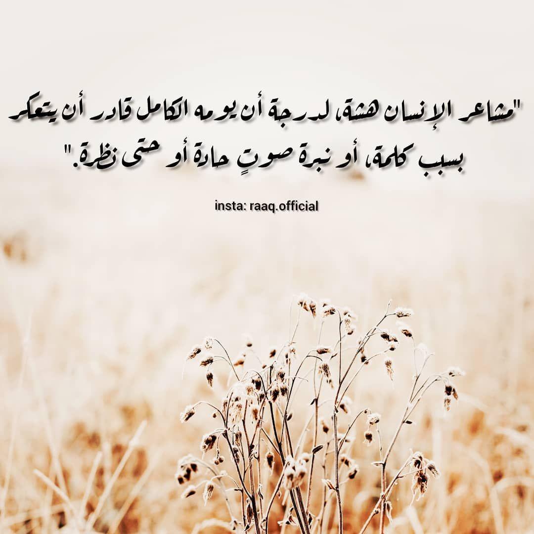 مشاعر الإنسان هشة لدرجة أن يومه الكامل قادر أن يتعكر بسبب Arabic Quotes Love Quotes Quotes