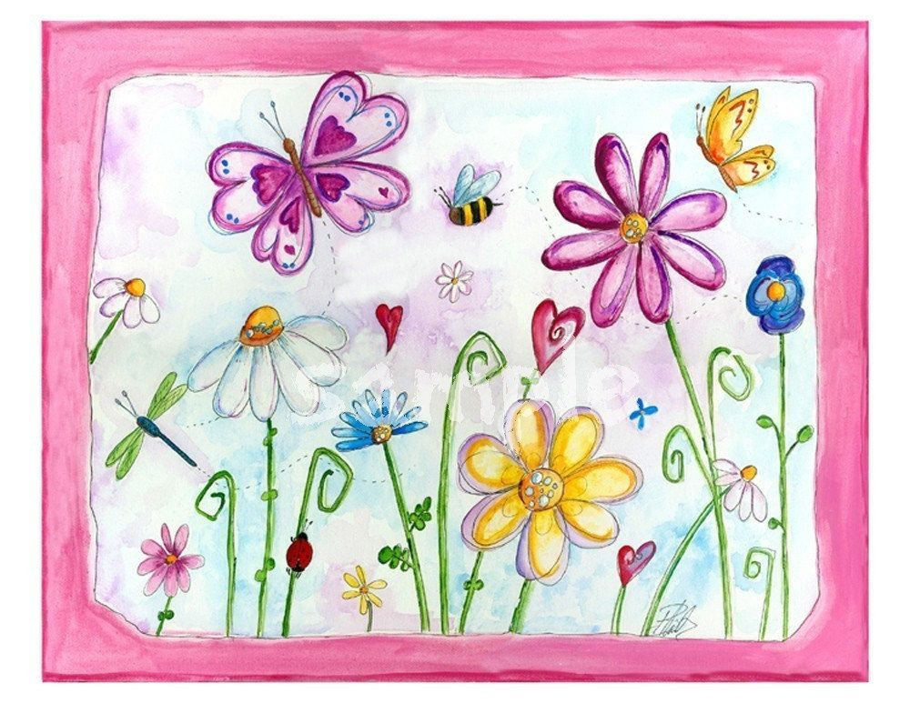 Printemps Dans Le Jardin Aquarelle De Bealoo Art Wall