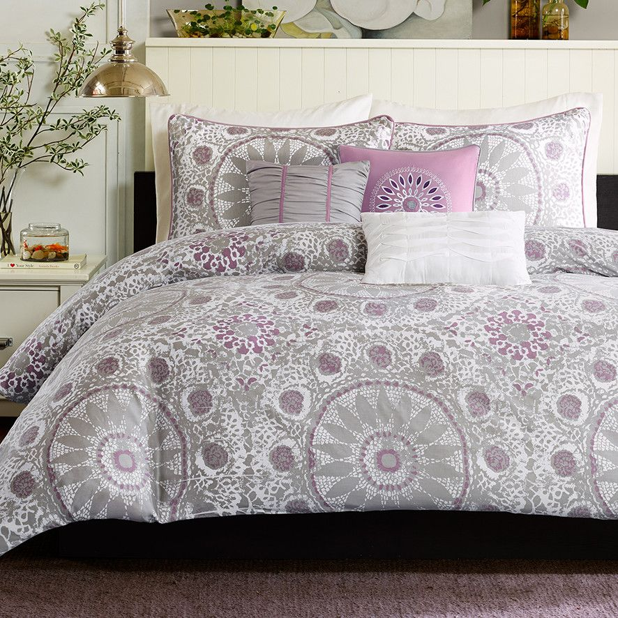 Purple and gray silver duvet set purple bedroom ideas for Purple and silver bedroom designs