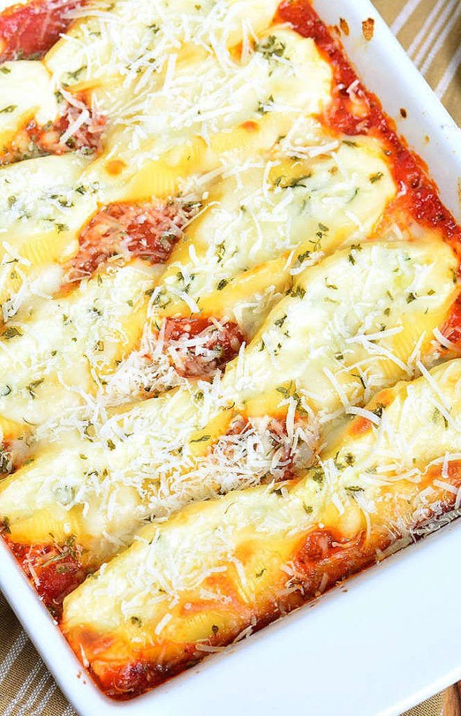 Photo of Classic Ricotta Stuffed Shells made with flavorful three cheese ricotta filling and homemade