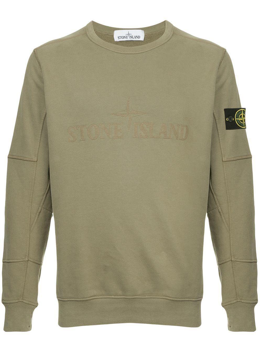 Stone Island Embroidered Logo Sweatshirt In Green Modesens