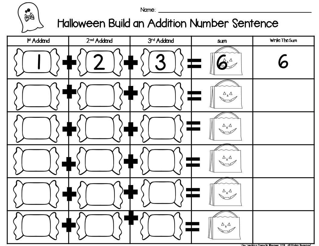 Halloween Build 3 Addend Addition Amp Subtraction Number