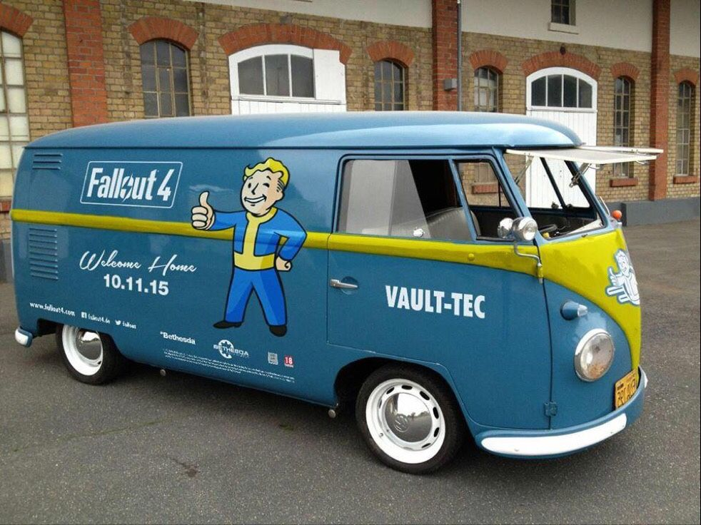 Bethesdas Fallout 4 Volkswagon Vault-Tec van < - completely love this van. I would love to play Fallout 4, but you know....... $60 is a lot of money........
