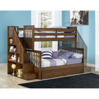 Zachary Twin Over Full Staircase Bunk Bed Organized