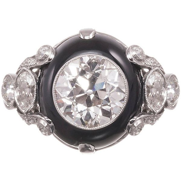 Preowned 4.68 Carat Old European Cut Diamond Onyx Platinum Ring ($85,000) ❤ liked on Polyvore featuring jewelry, rings, black, onyx ring, art deco diamond ring, deco ring, onyx diamond ring and art deco ring