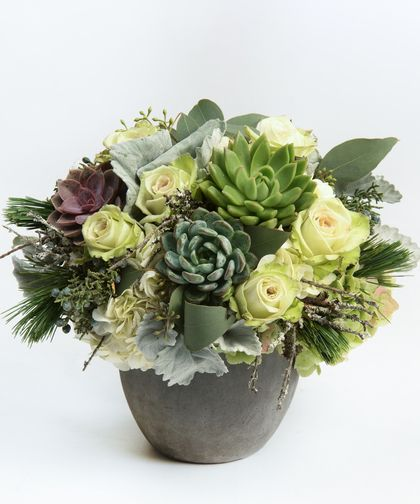 Wintergreen - This stunning and unique arrangement is filled with all the tones and textures of the season perfectly complemented with roses and hydrangea.