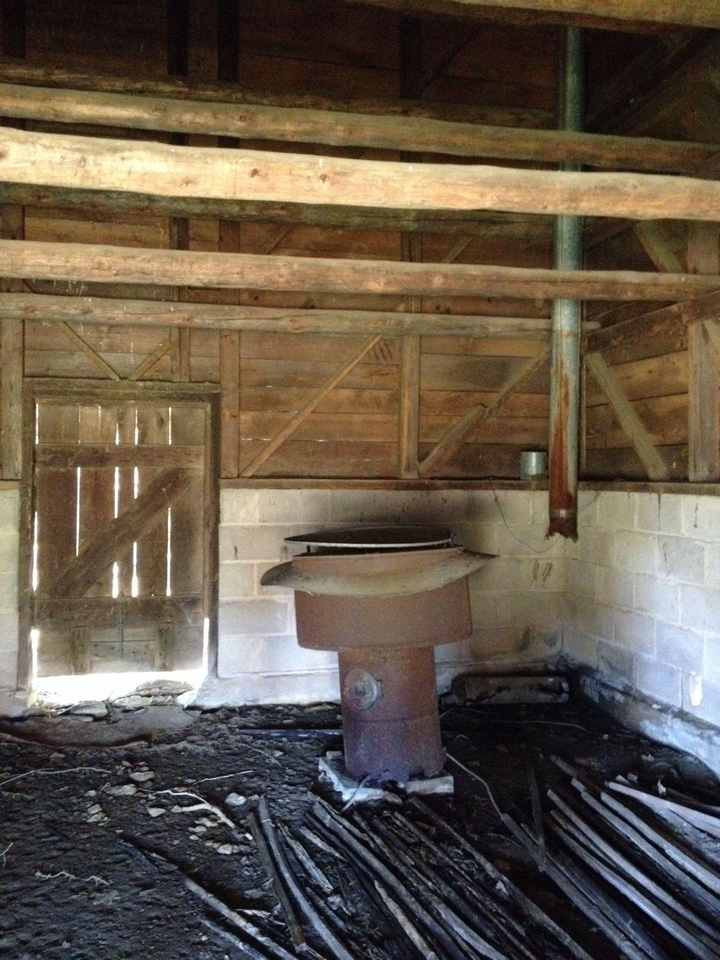 Oil burner in tobacco barn on the Amos Allman farm in Glade