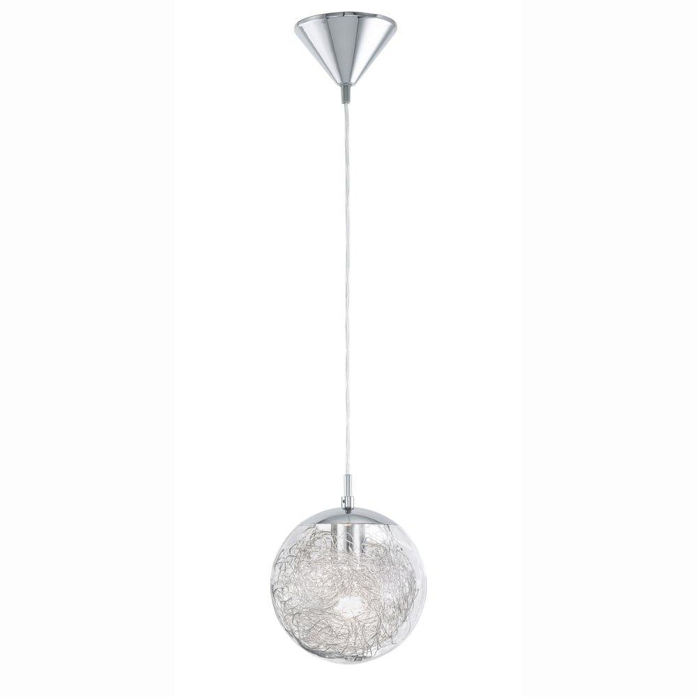 eglo luberio glass globe pendant light with aluminium decoration kitchen lighting from dusk lighting uk