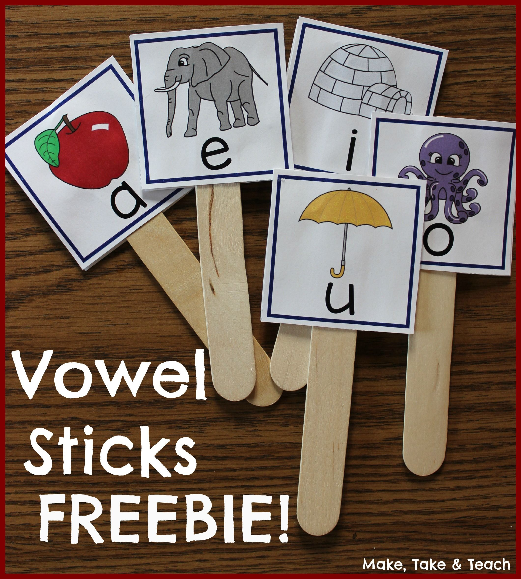Vowel Sticks Freebie