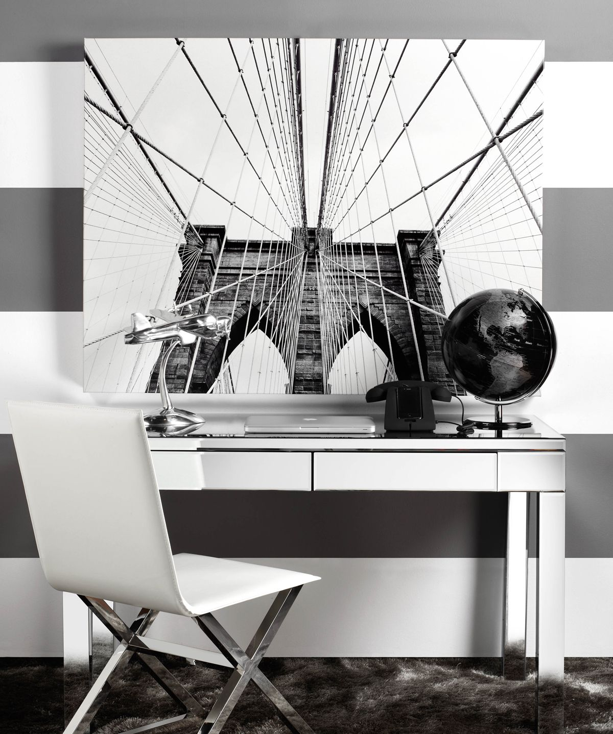 high quality office work. Travel-inspired Home Office For The Urban Dweller Using Our Brooklyn Bridge Canvas. High Quality Work A