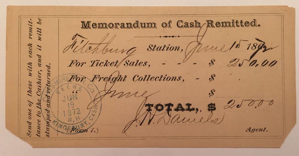 Vintage Train Ticket Sale Receipt 1872 Keene Nh Cancel Cheshire R R Co Paper Ebay Vintage Train Ticket Book Art Vintage Train