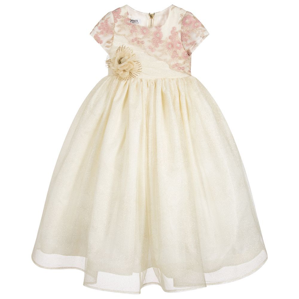 Pink and gold dress for kids  Graci  Girls Pink u Gold Long Tulle Dress  Childrensalon  WELL