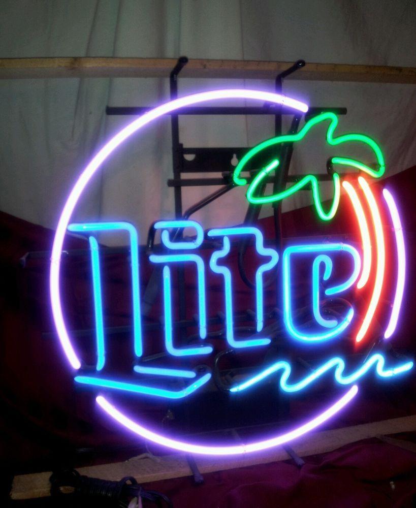 Miller Lite Palm Tree Pub Bar Beer Neon Sign Vintage