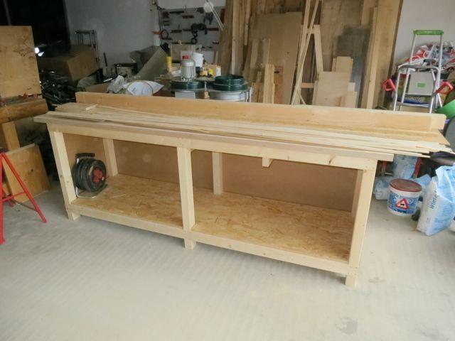 Zweiter teil des bau der stabilen werkbank es erfolgt die montage der verleimten tischplatte for Tischplatte selber bauen