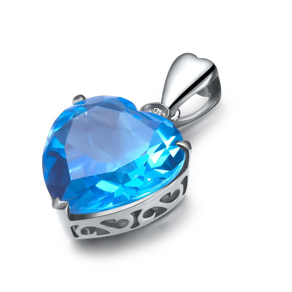 Zocai zodiac gem 7 ct certified topaz diamond 9k white gold blue heart shaped cut aquamarine and diamond pendant set in 18 k white gold all of our designer pendants are hand made and are available in white aloadofball Image collections