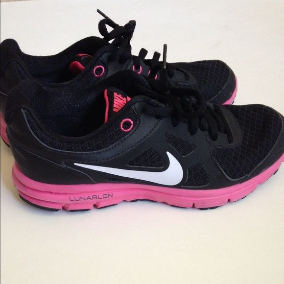 1247feed0b9 Nike Lunarlon shoes Black and pink nikes. Great shape! Worn one time. Then  they ve been in a closet. Size 4.5 youth but fits like a 5 in women s. Nike  Shoes