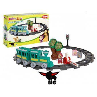 Big Klocki Masza I Niedźwiedź Zabawny Zestaw Kolejowy Figurka
