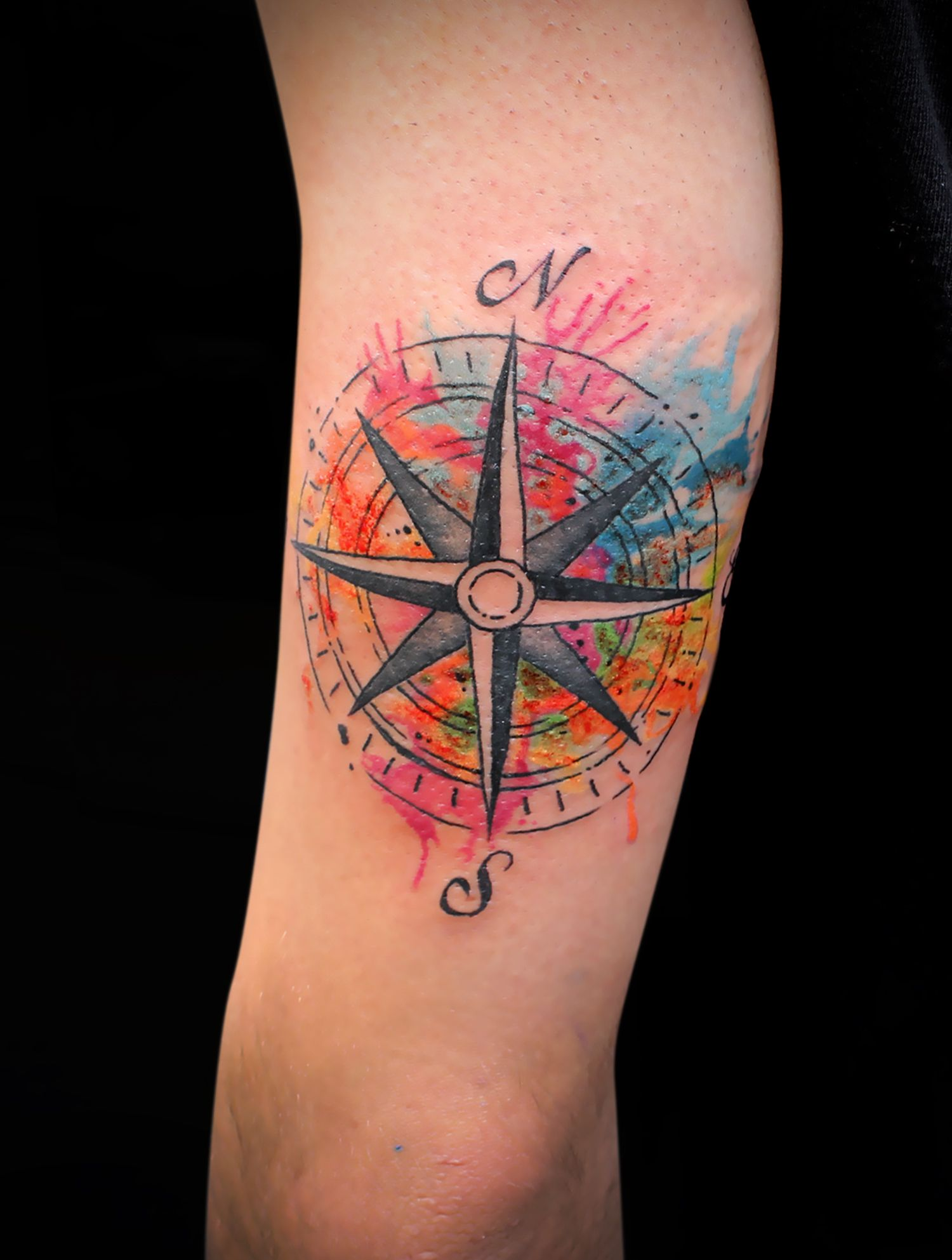 Rosa Vientos Colores Tattoos Acuarela Tatuajes Y Colores