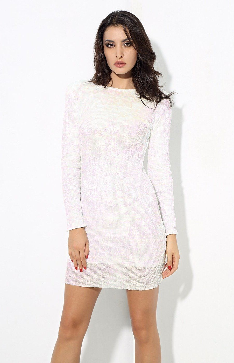 Pin By Priscila Bernabe On Clothes Mini Dress Dresses Long Sleeve Sequin Dress [ 1400 x 903 Pixel ]