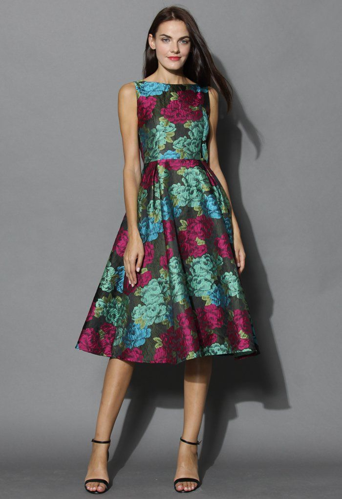 Peonies Charm Jacquard Prom Dress - Party - Dress - Retro, Indie and ...