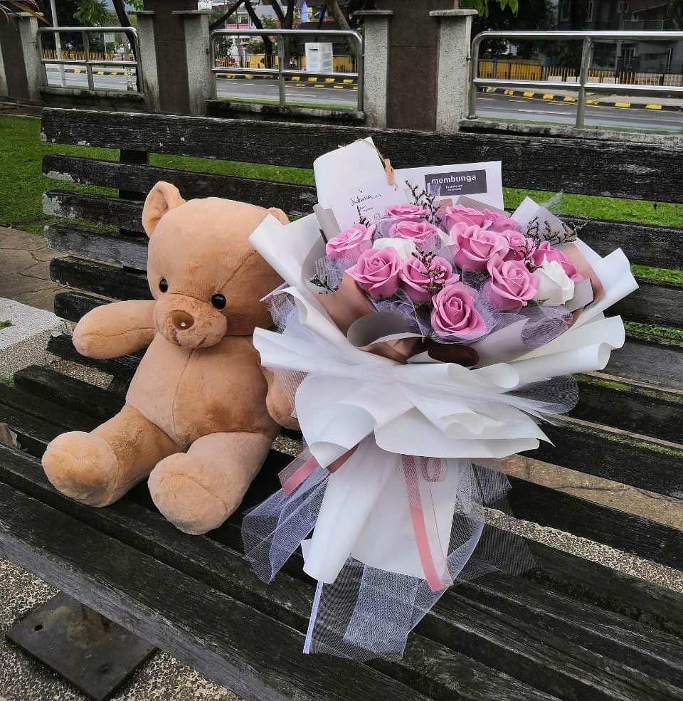 Flower bouquet birthday gift delivery kl with teddy bear