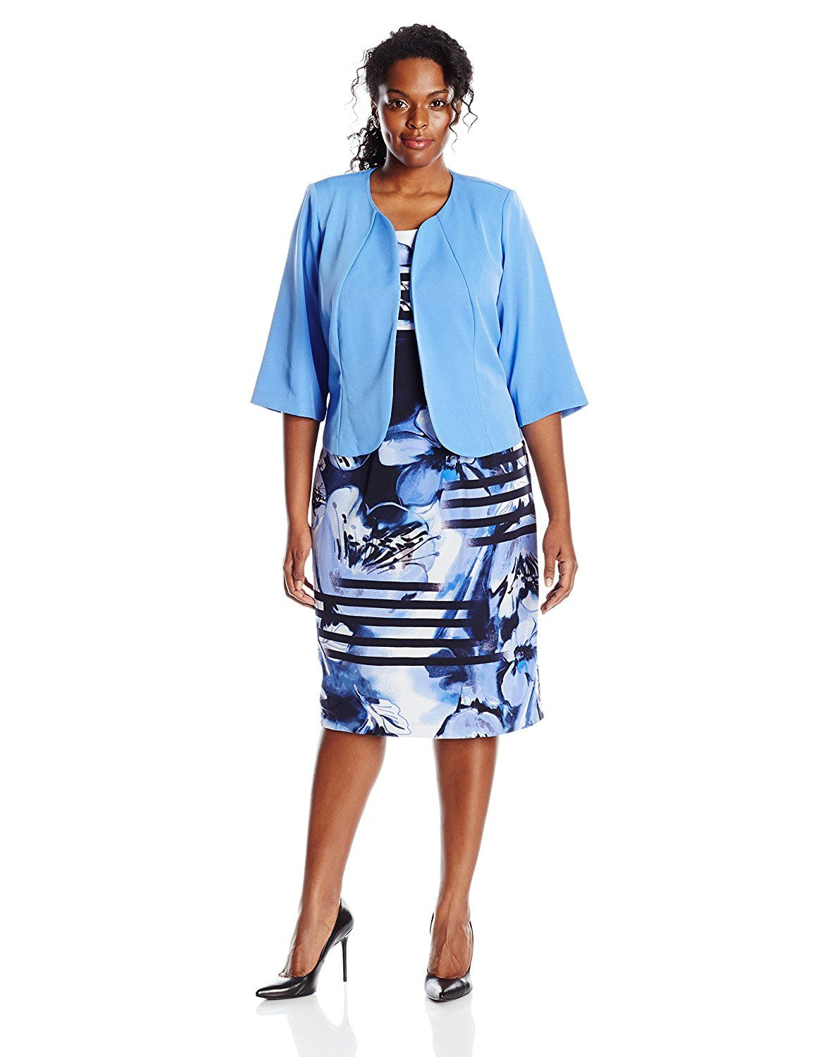 e4496b7f731655 Maya Brooke Women s Plus-Size Stripe Floral Round Neck Jacket and Dress Set  -- New and awesome product awaits you