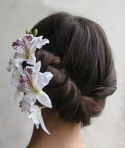1p White Color Bridal Silk Hair Flower Big Orchid Flower Wedding Bridesmaid Prom Silk Hair Flower Orchid Hair Pins Bridal Hair Clip