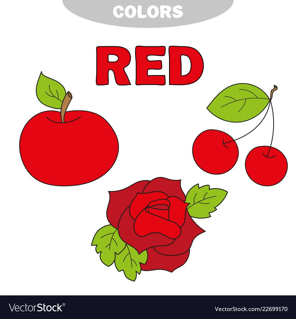 Red Learn The Color Education Set Illustration Of Primary Colors Vector Illustration Apple C Preschool Color Activities Preschool Colors Learning Colors [ 1080 x 1000 Pixel ]